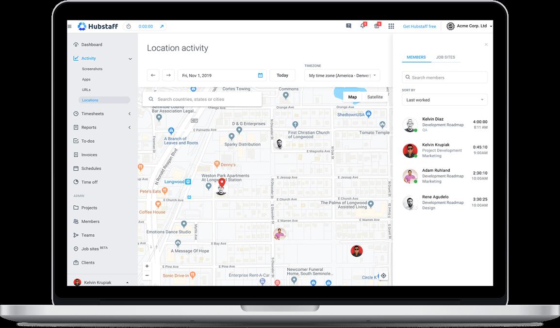 Hubstaff location activity report