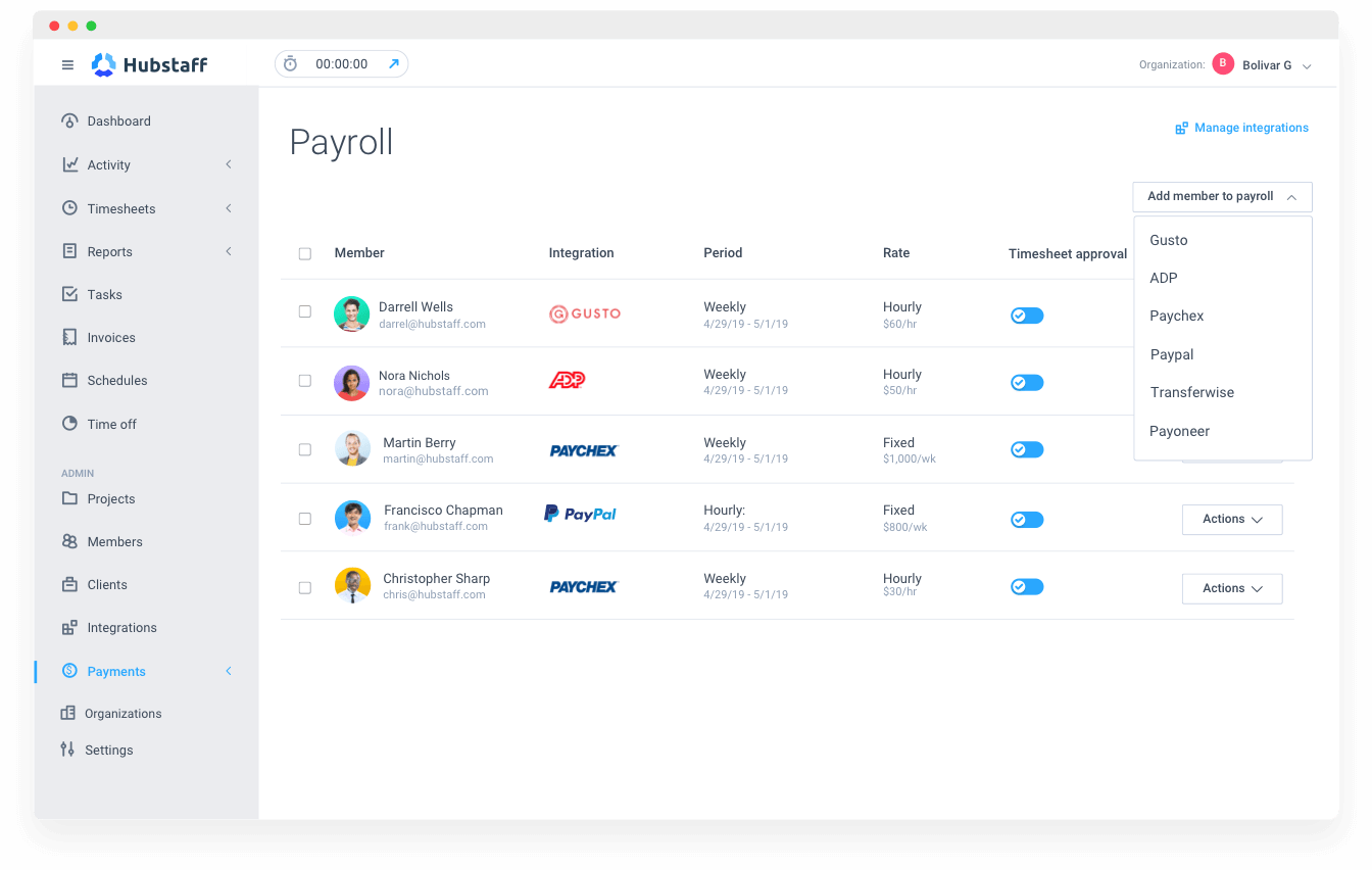 automatic payroll with Hubstaff