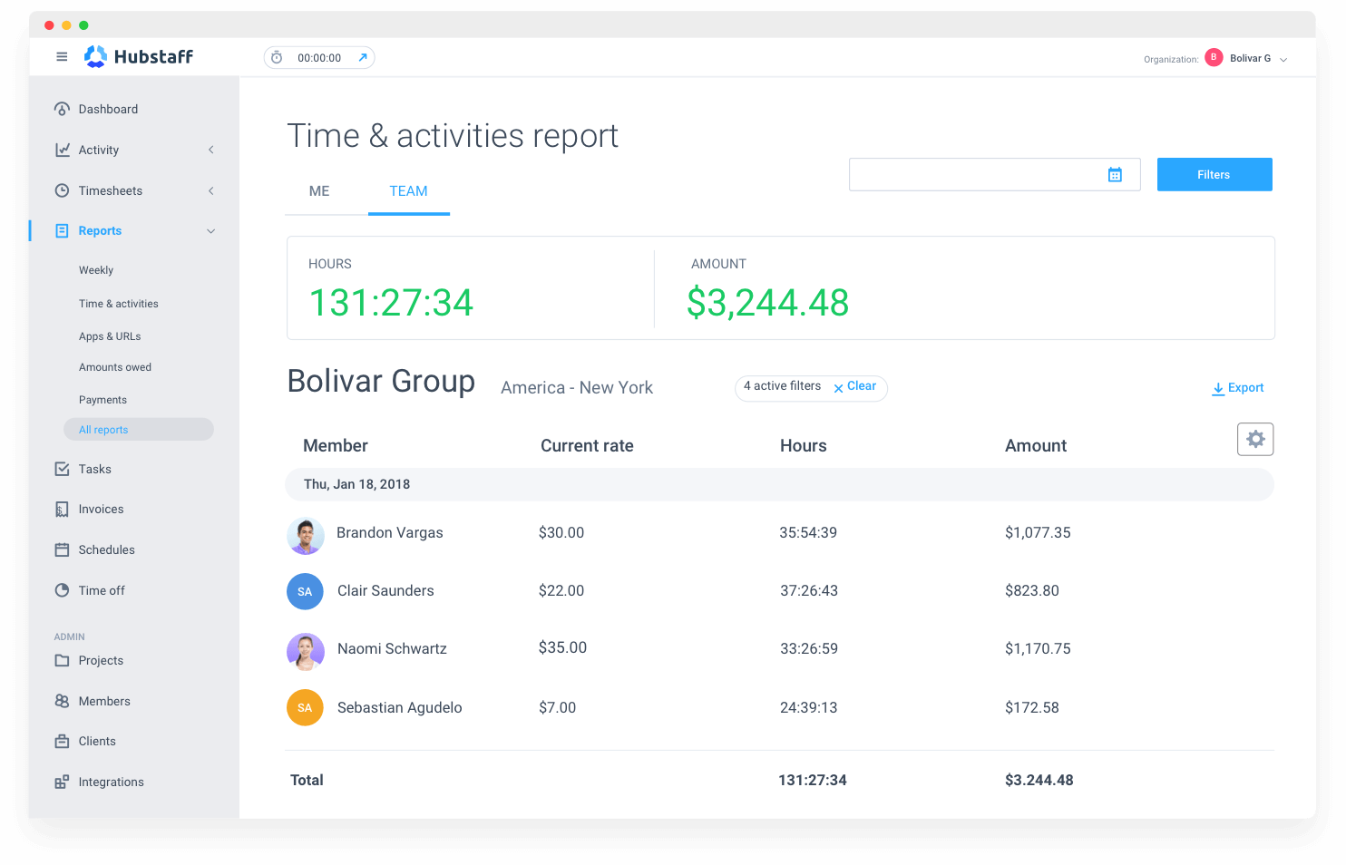 customizable work reports with Hubstaff