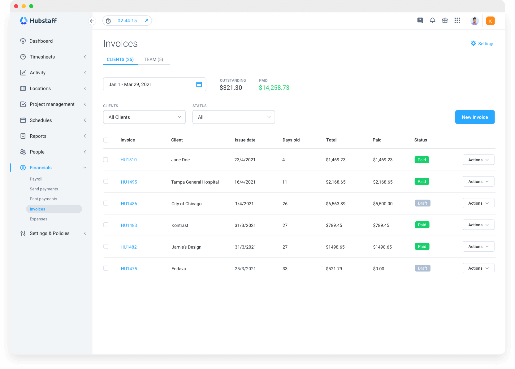 Hubstaff invoicing features