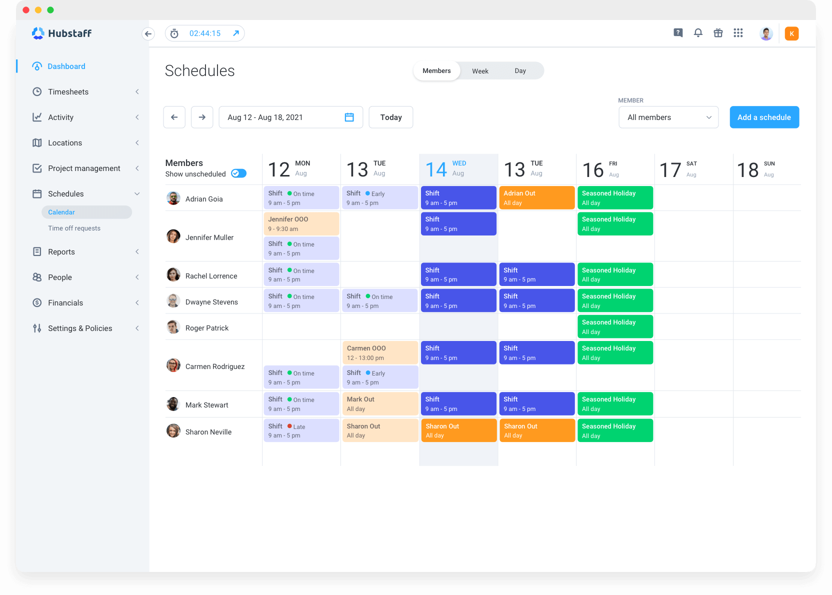 scheduling features Hubstaff