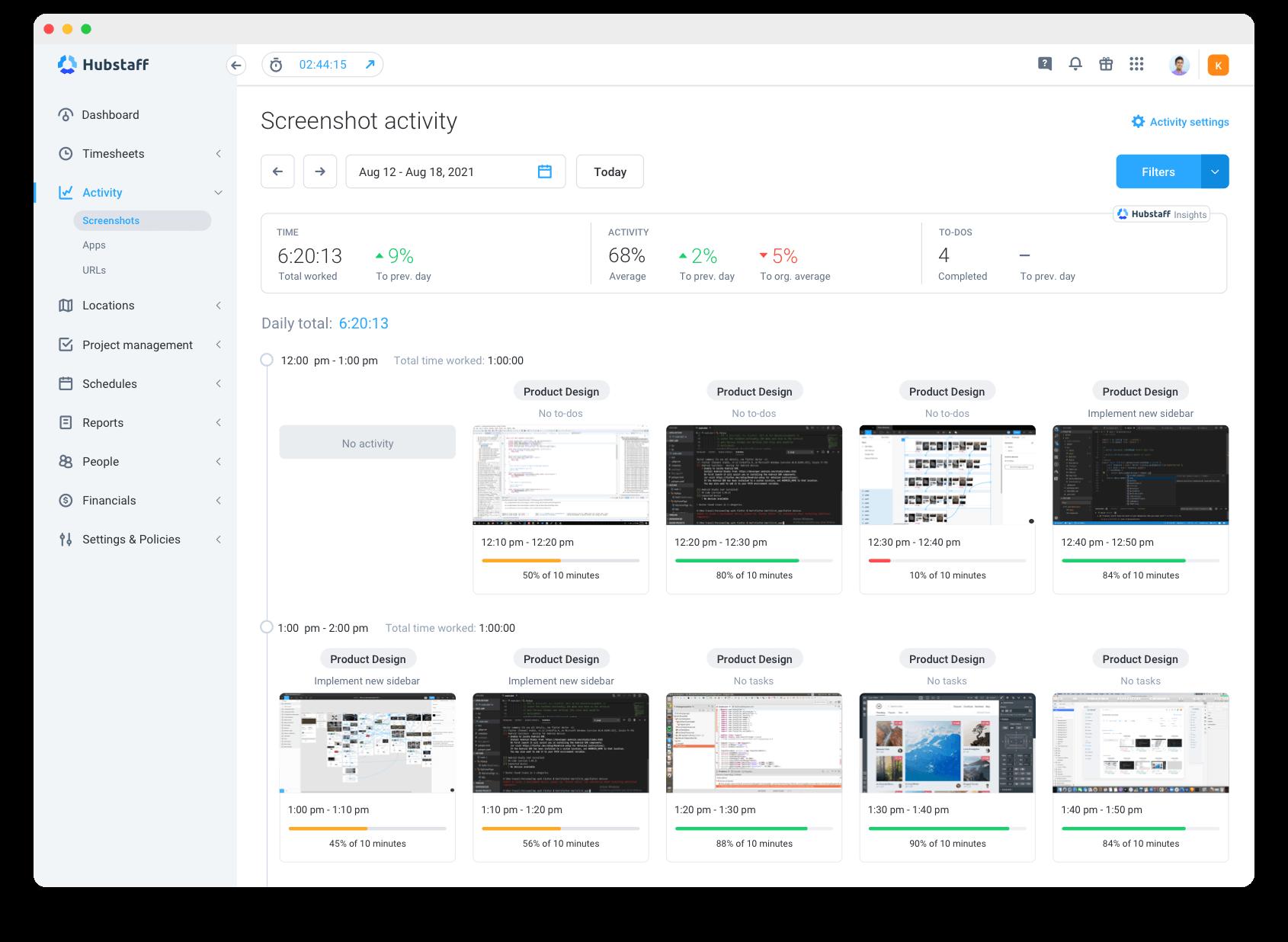 screenshot activity Hubstaff