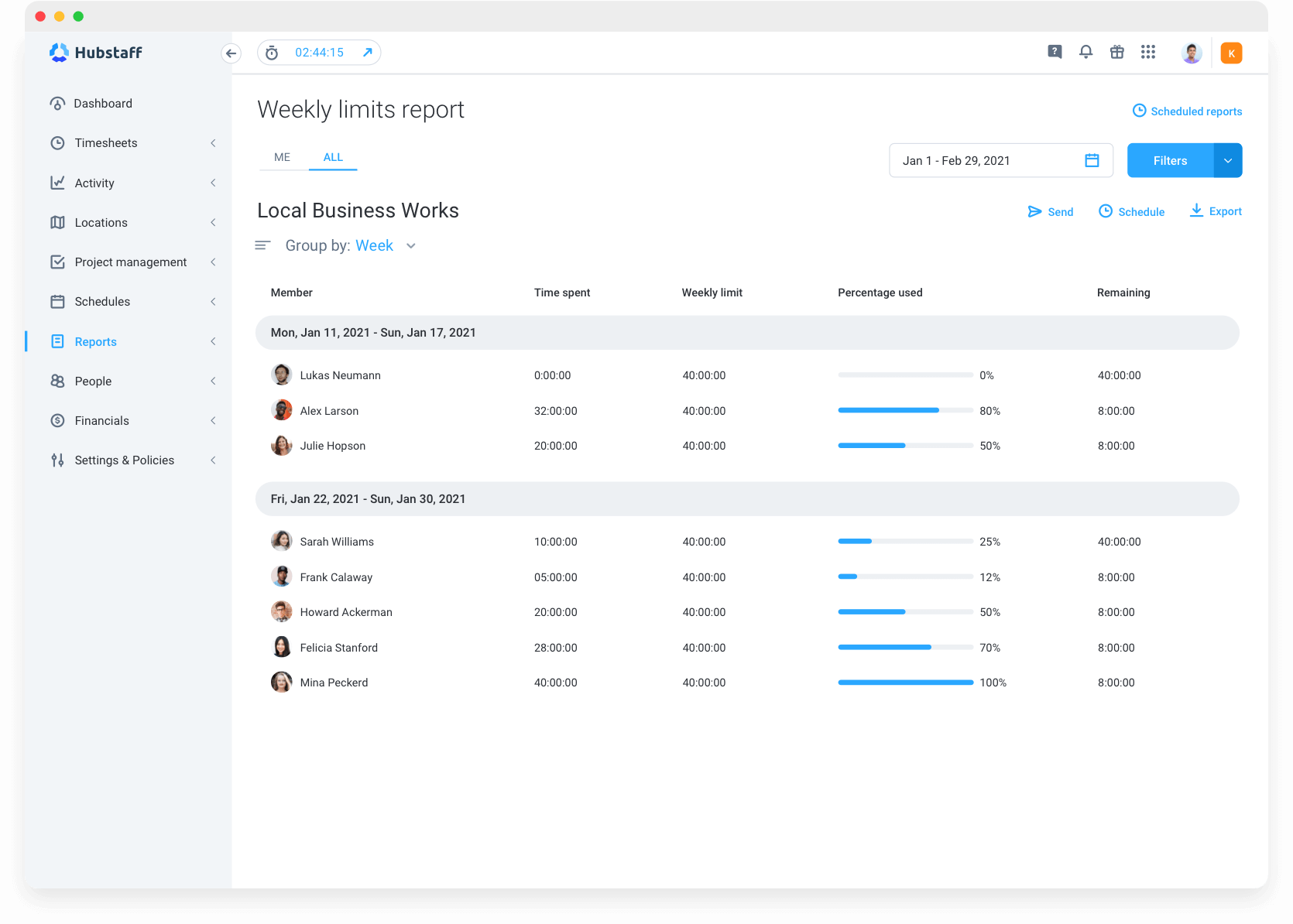 Hubstaff reporting features