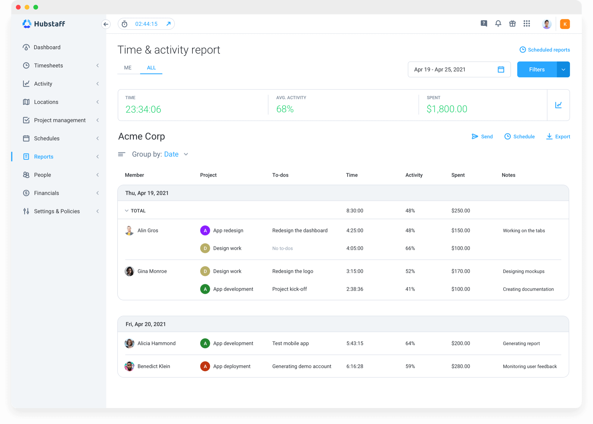 time and activity report for consultants