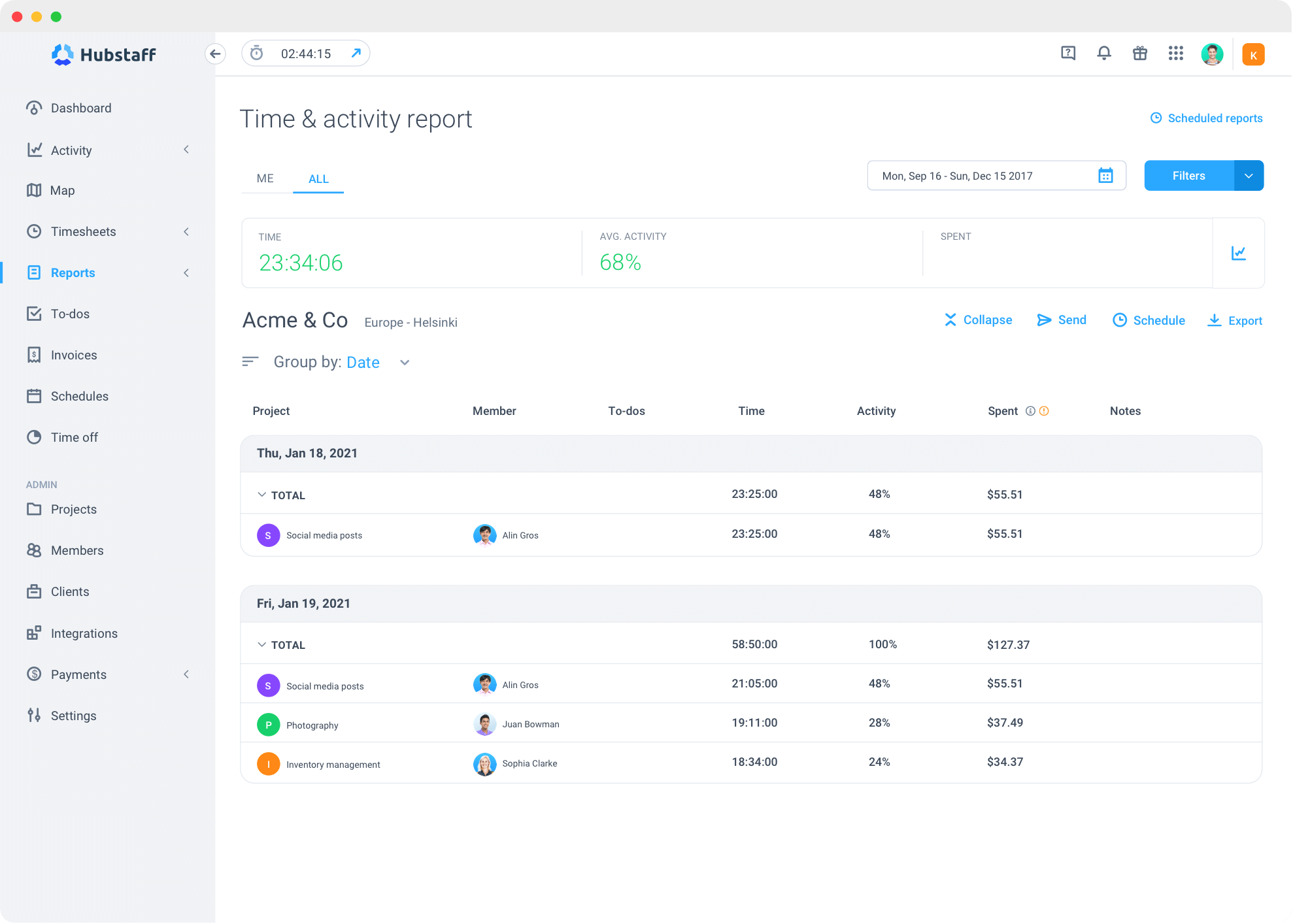Hubstaff activity report