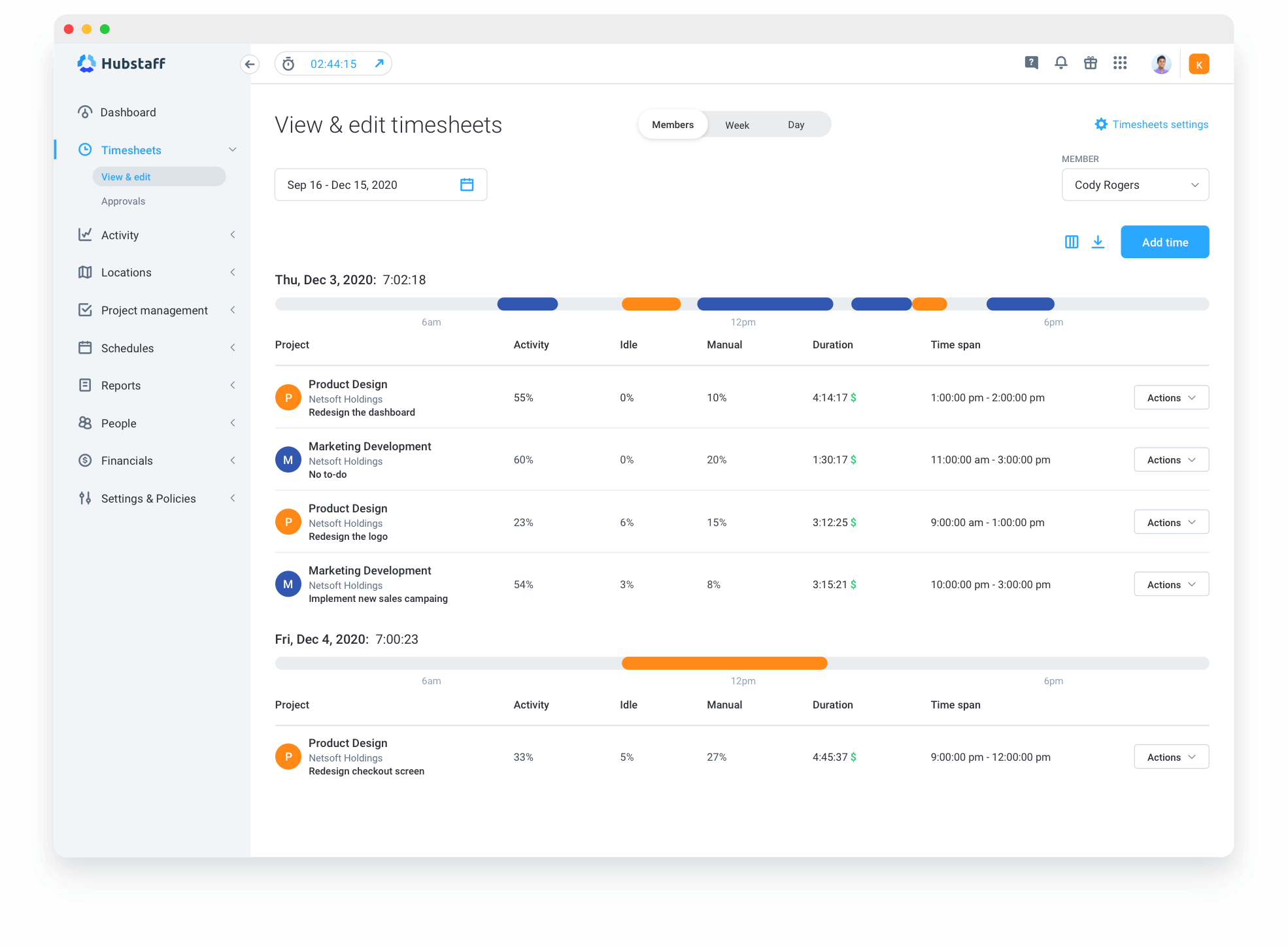 detailed timesheets