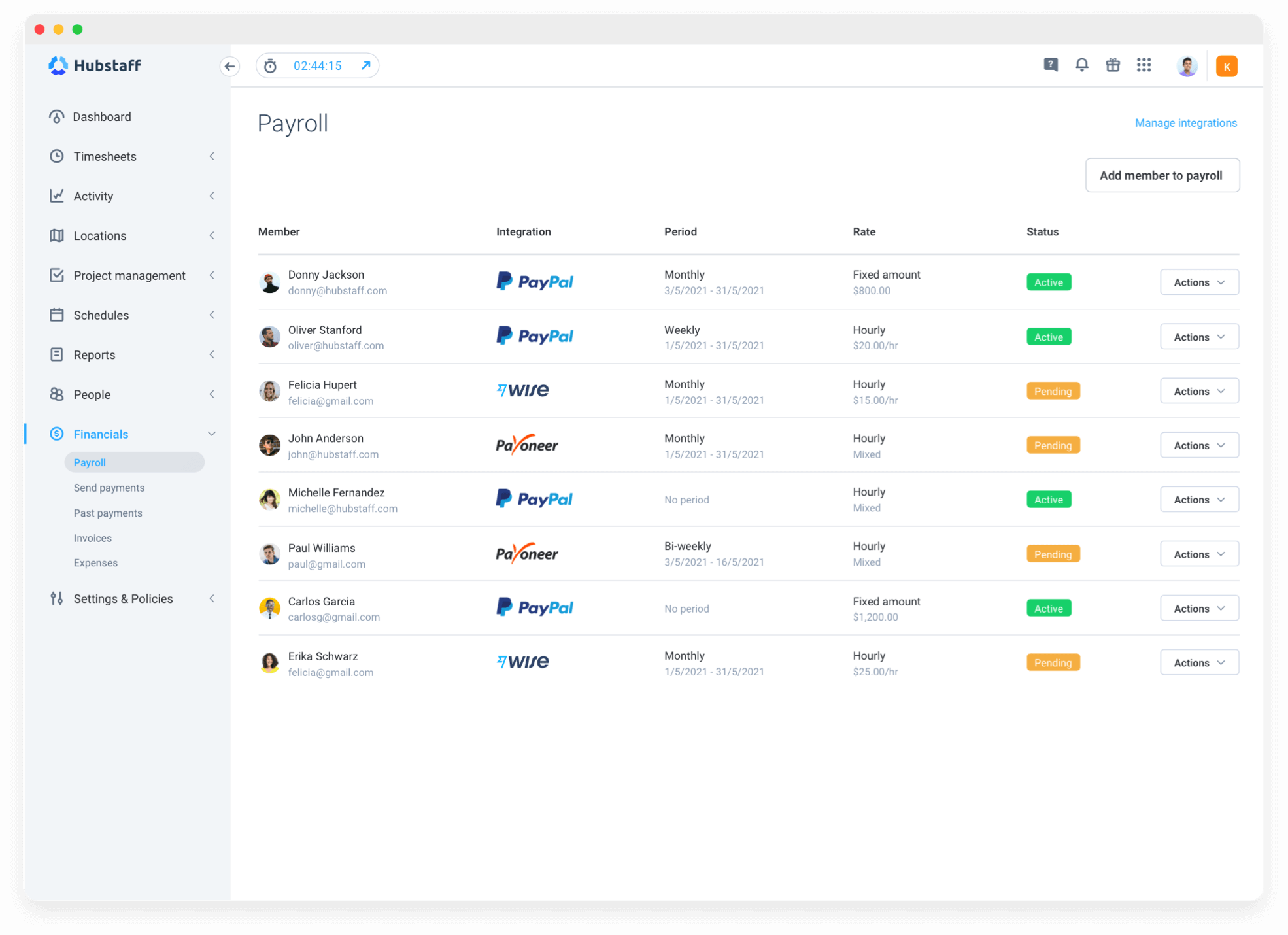 Payroll tool to manage your freelancers