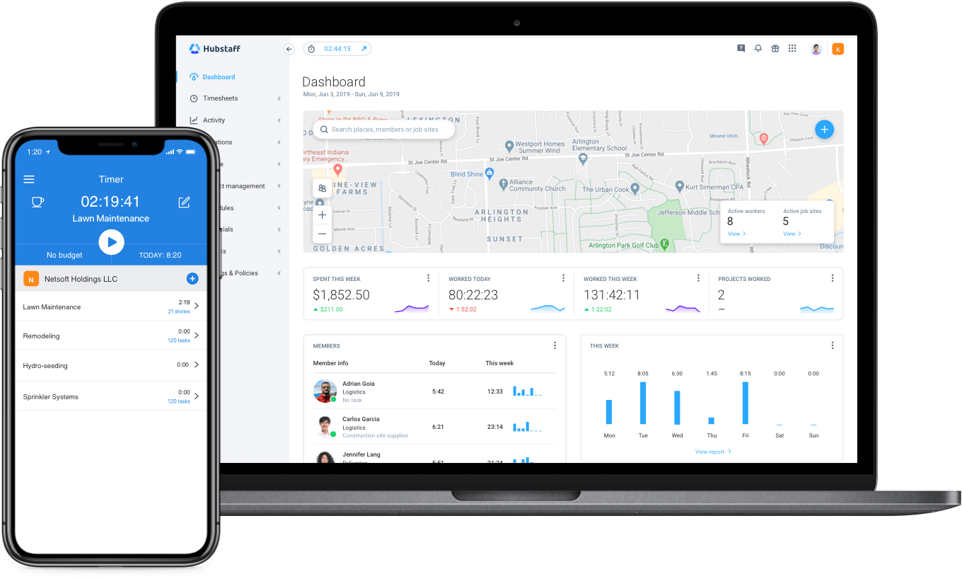 time tracking app for landscaping teams