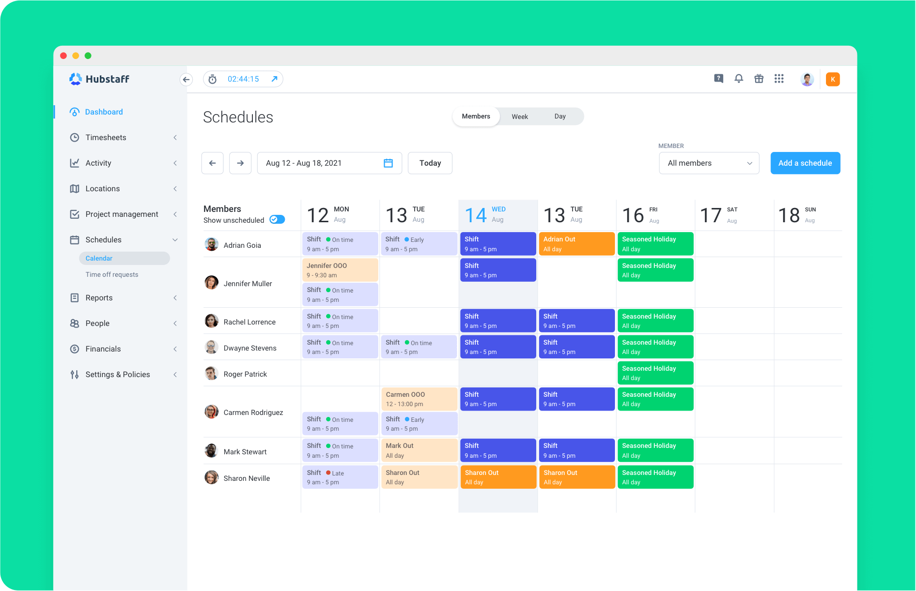 Organized and simple scheduling