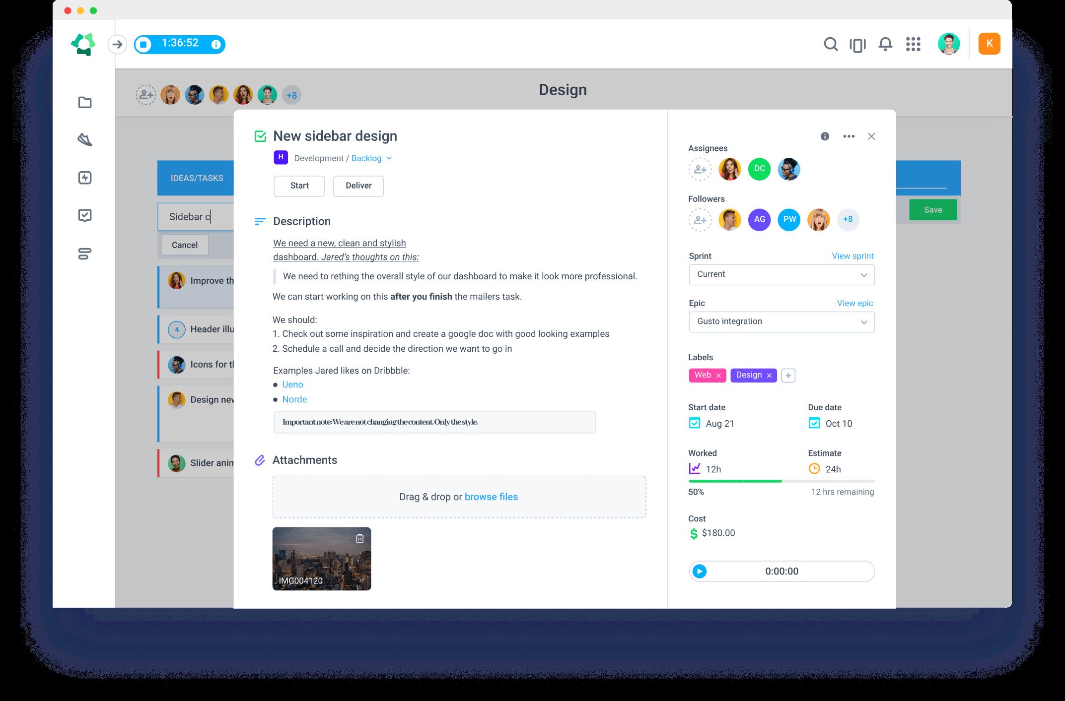 time tracking in Hubstaff Tasks