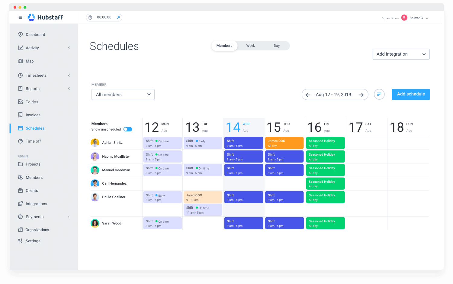 scheduling and time tracking features in Hubstaff