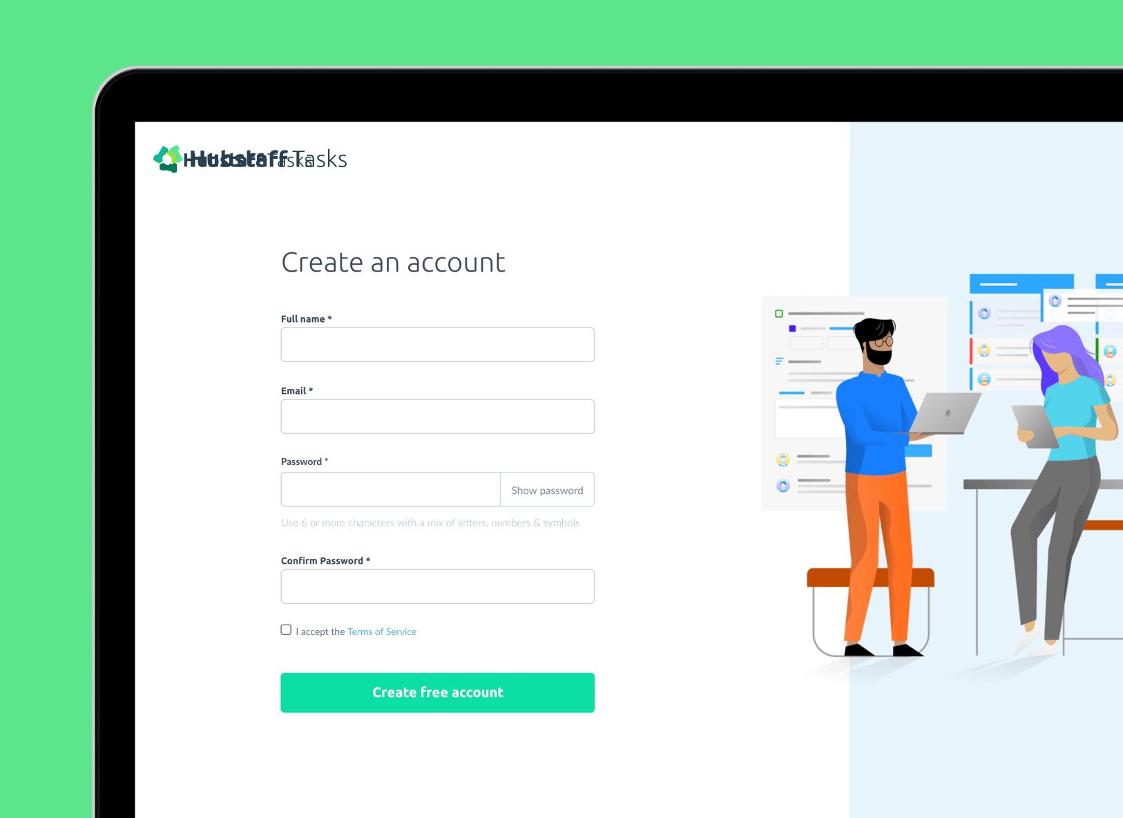 create an account in Hubstaff Tasks