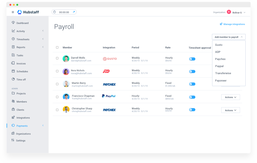 automatic payroll with Hubstaff app