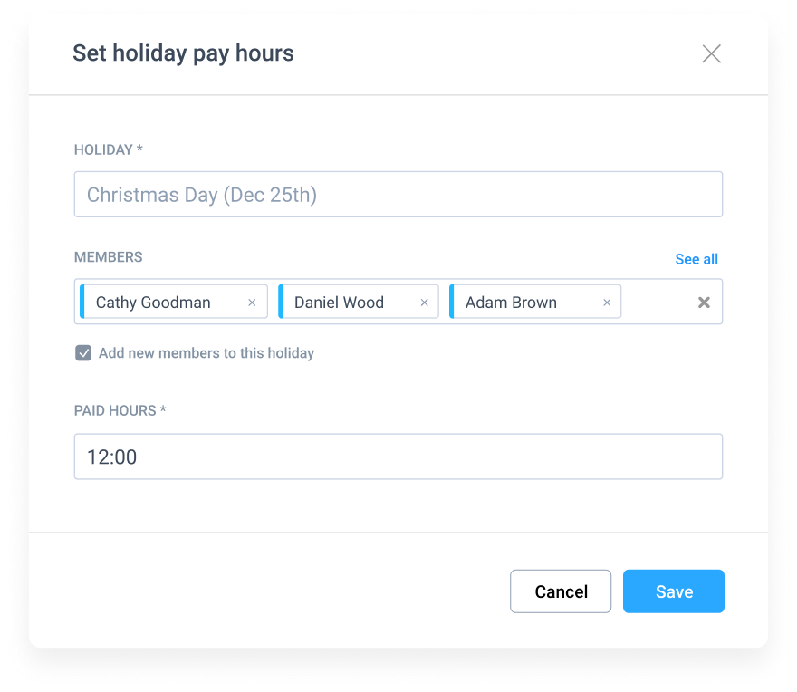 set holiday pay hours