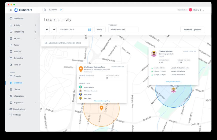 Hubstaff employee location activity dashboard