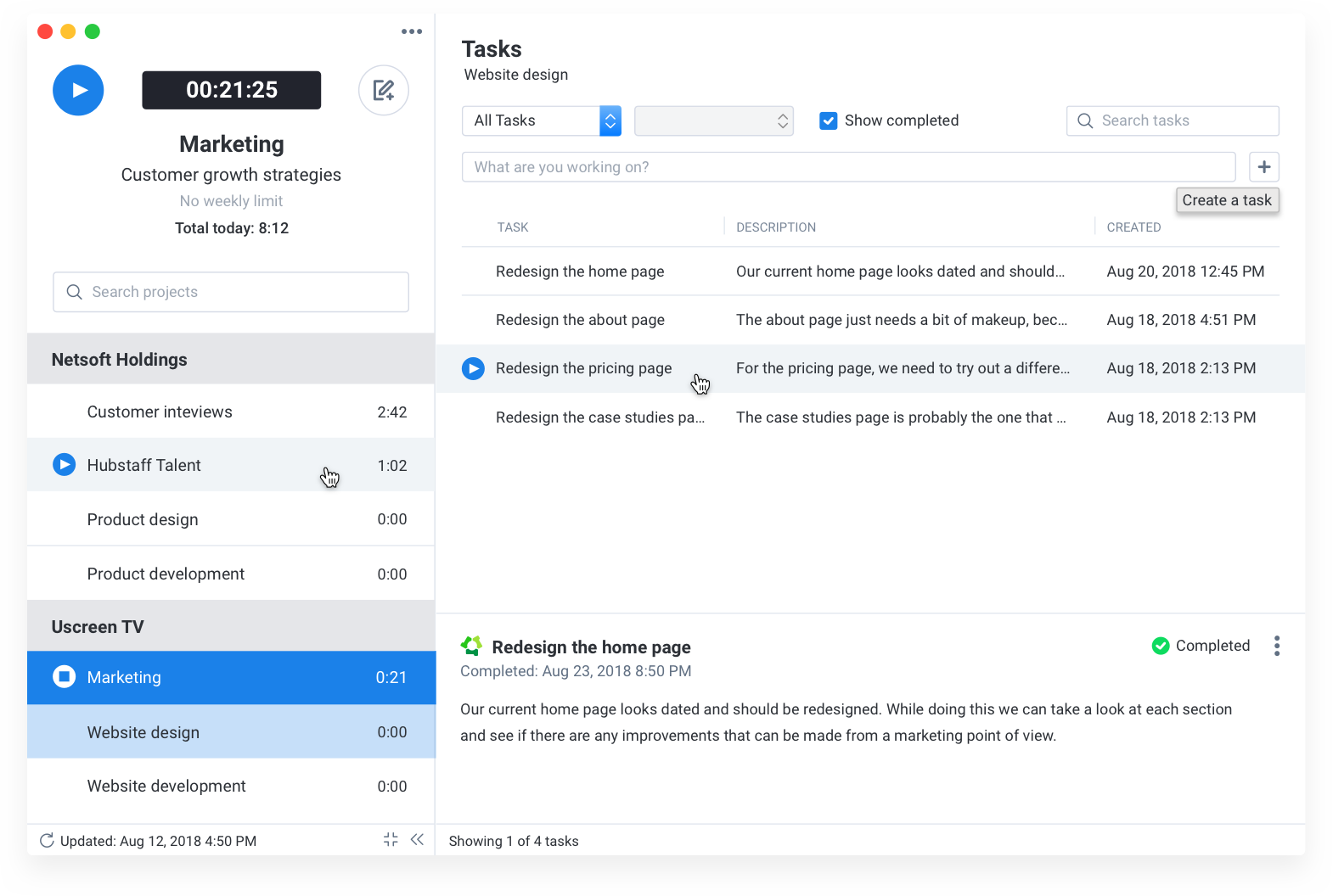 easily create to-dos and track time to them