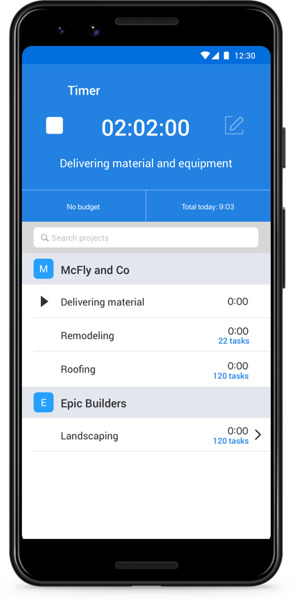 track work hours on Android