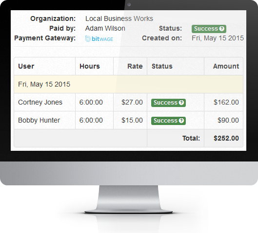 time tracker with automated payroll using bitcoin