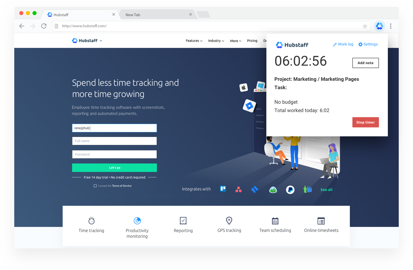 Hubstaff chrome time tracking extension