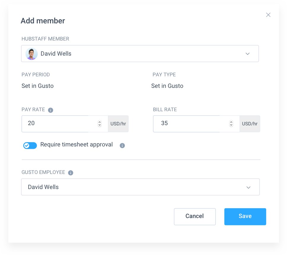 add member to gusto payroll