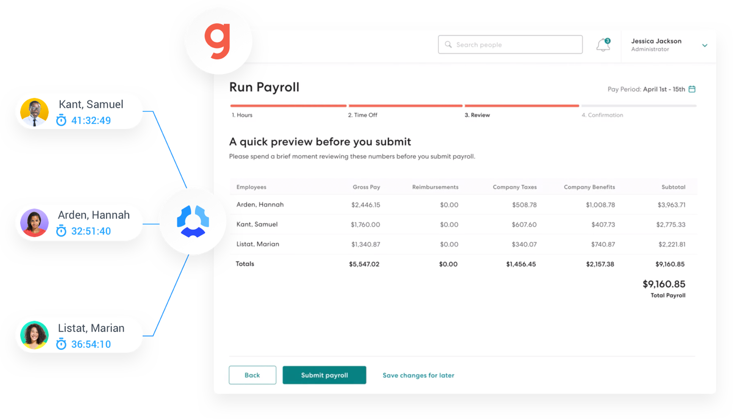 Hubstaff integrates with Gusto payroll