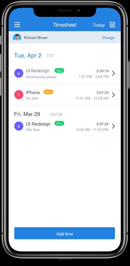 iPhone timesheet app