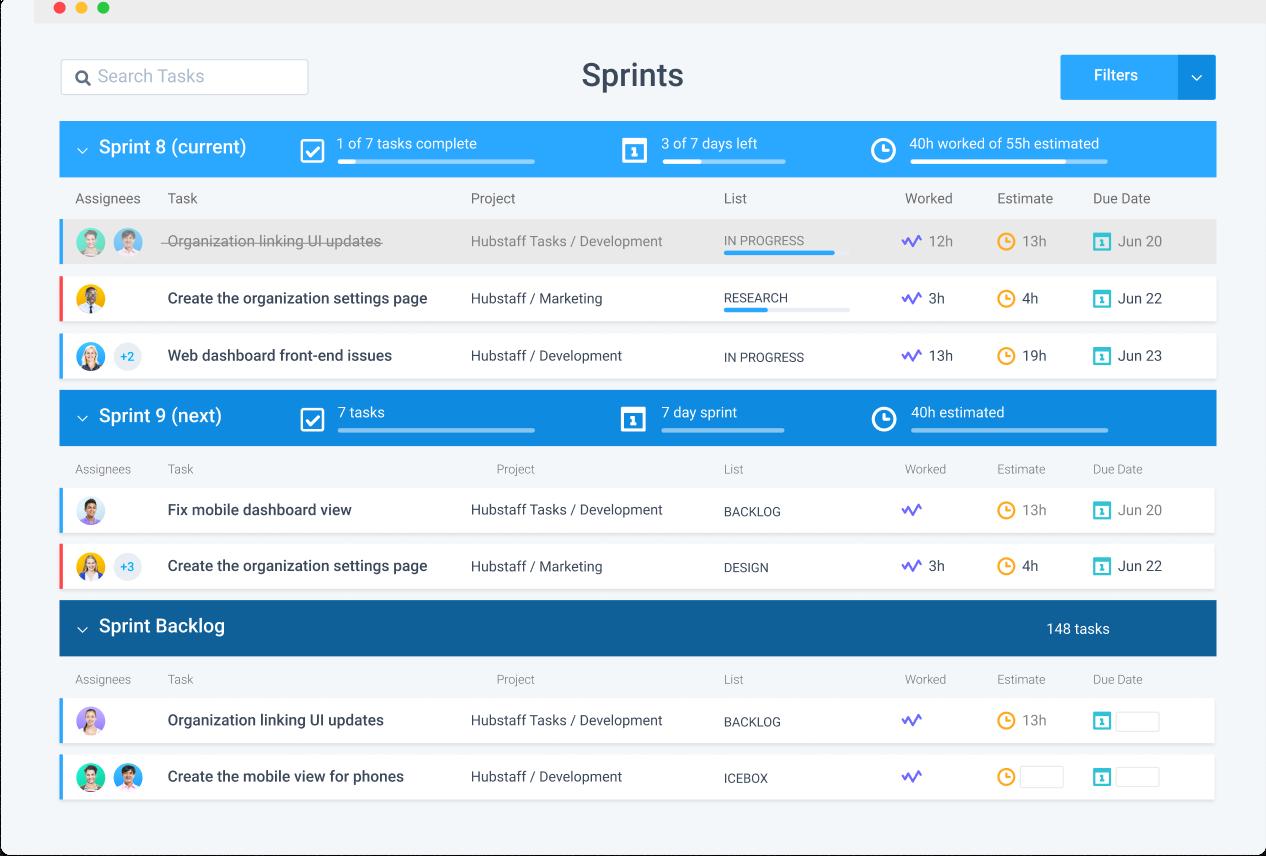 Hubstaff Tasks features